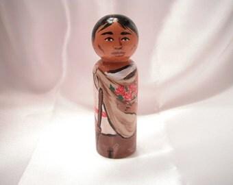 Saint Juan Diego - Catholic Saint Wooden Peg Doll Toy - made to order