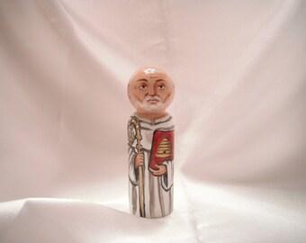 Saint Bernard of Clairvaux - Catholic Saint Wooden Peg Doll Toy - made to order
