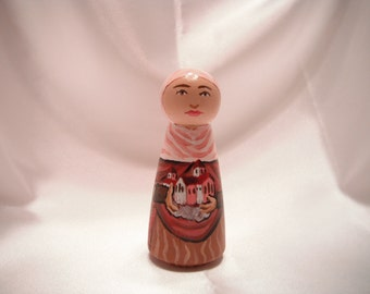 Saint Audrey - Catholic Saint Wooden Peg Doll Toy -  made to order