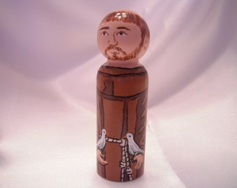 Saint Francis of Assisi - Catholic Saint Wooden Peg Doll Toy - made to order