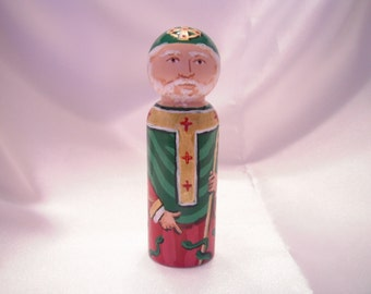 Saint Patrick - Catholic Saint Wooden Peg Doll Toy -  made to order