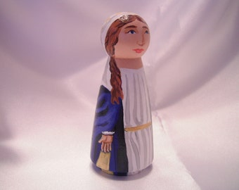 Our Lady of Grace - Catholic Saint Wooden Peg Doll Toy - made to order