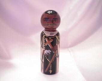 Saint Martin De Porres - Catholic Saint Wooden Peg Doll Toy - made to order