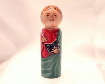 Saint John the Evangelist - Catholic Saint Wooden Peg Doll Toy -  made to order