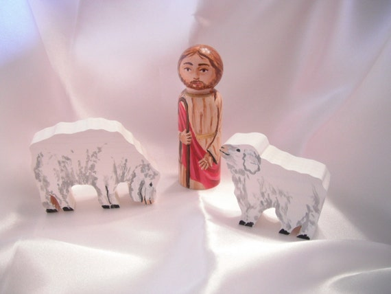 Jesus the Good Shepherd Wooden Doll Playset - made to order