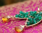 Green Onyx and Citrine Drop Earrings (medium)