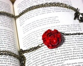 Red Flower and Chain Necklace