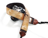 Cool Camera Strap, DSLR Camera Strap, SLR Camera Strap, Custom camera strap with Genuine Leather Ends - Sand Storm