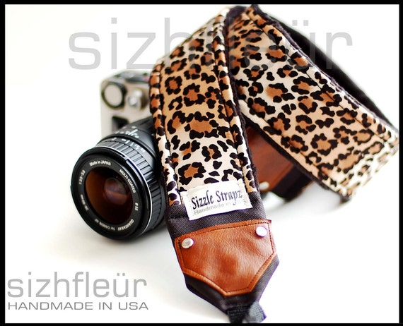 Custom listing for DKG - Camera strap with lens cap pocket and embroidery - Leopard Print