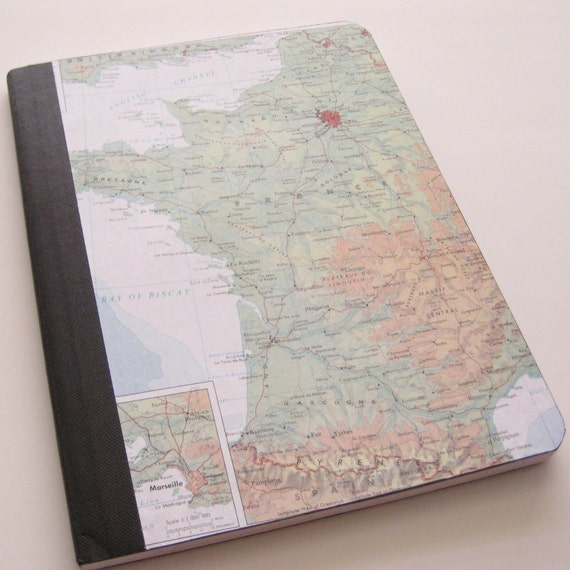 Altered Composition Book - Journal featuring Map of France