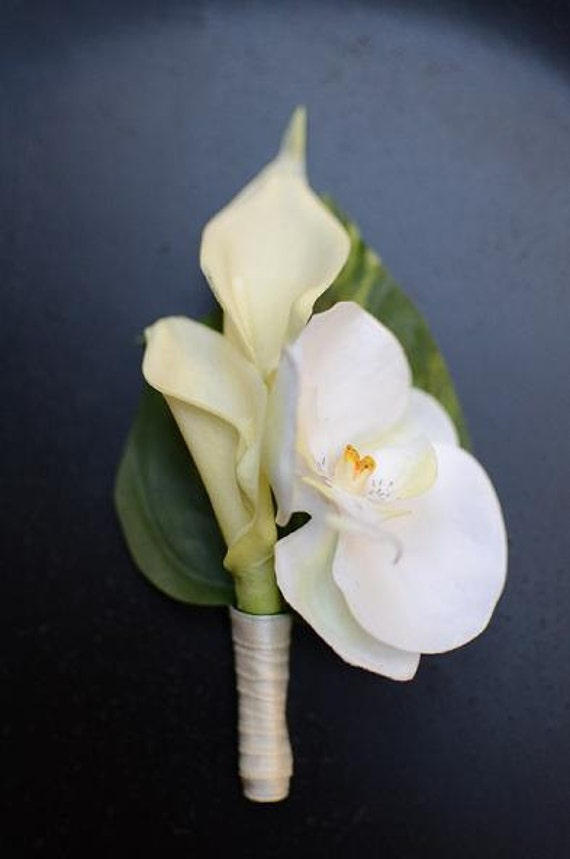 White Calla Lilies and Orchid Boutonniere by VanitiesLove ...