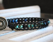 Chan Luu Style Single Wrap Bracelet with Faceted Jet Black and Sapphire Czech Glass Beads