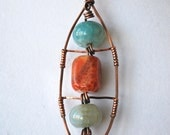 Fire Agate Stone Handcrafted Wire Wrapped Pendant in Copper