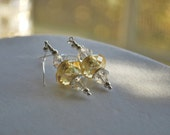 Dangle Earrings with Large Clear Swarovski Crystals and a Multi Faceted Pandora Style Glass Bead in a Golden Color