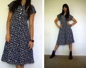 Vintage 90's Logan Navy Print Dress by Rampage