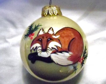 Mr Fox, Fox Hunt, hand painted christmas ornament.