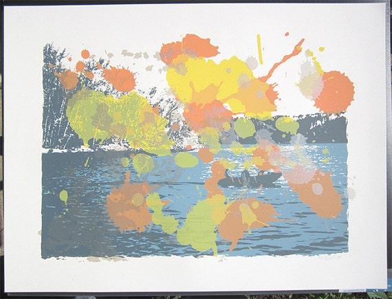 Test Print - Fishing Boat Lake Print Poster