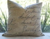 Pillow Cover... Beautiful Tan & Brown Script...Decorative...Designer Fabric...One 18x18...Ready for Shipping