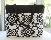 Padded Laptop Tote Bag...Fits up to 17 inch PC...Damask Black and  Creamy White Designer Fabric...SOLD