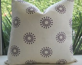 Pillow Cover... Decorative Designer Fabric...Both Sides...20x20 Purple Embroidered Starbursts on a Creamy Ivory Linen