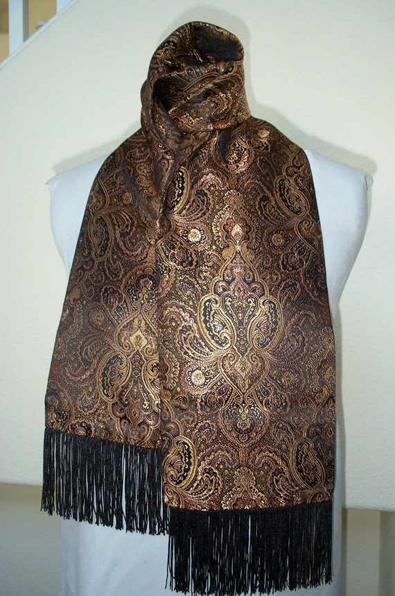Scarf... Beautiful Unisex   Black, Gold  and Rust Design Brocade Scarf...Sale...Ready to Ship