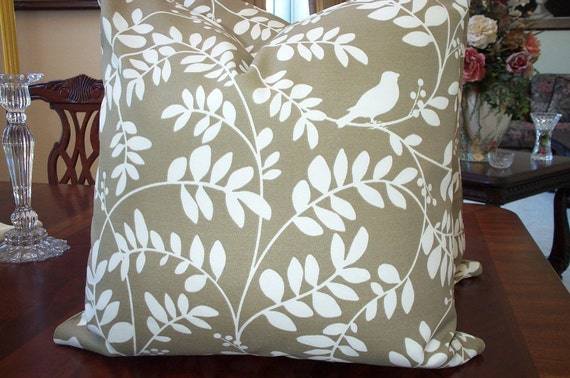 Pillow Covers...Beautiful  Decorative...Designer Fabric...New Botany  Soft Scroll Leaf Taupe.. Two  20x20...SALE