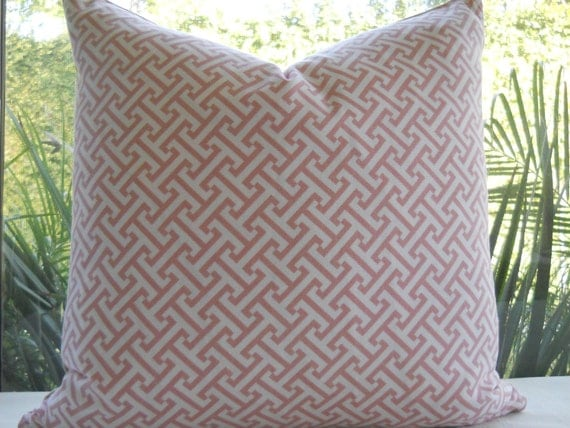Pillow Cover...Beautiful Decorative Designer Fabric...20x20...Throw Pillow...Dusty Rose Pink Cross Section...SALE