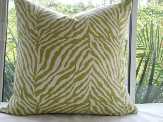 Pillow Cover...Beautiful Decorative Designer Fabric...20x20... Throw Pillow...Green & Ivory Zebra Design...SALE