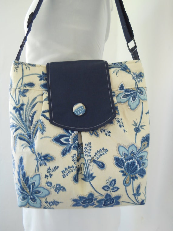 Tote...Hobo...Diaper/Beach Bag in Indigo Blues Floral on Buttery Cream Cotton...SALE