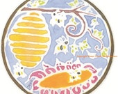 """Handpainted Silk Hoop Windowhanging """"Bee Community"""""""