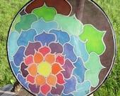 """CUSTOM COLORS Handpainted Silk Hoop """"Expanding Flower"""""""