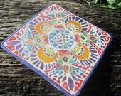 "Handpainted Silk Hoop Windowhanging ""Cosmic Directions"" Ornament"