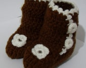 Hand Knit, Crocheted Brown and White Flower Baby Ankle Boots/Booties with Buttons
