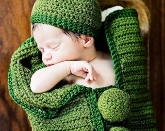 Custom Made * Crochet * Pea Pod Cocoon * with Matching Hat * Photo Prop * Boy Girl Neutral * Personalize + Customize