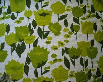 Floral Home Dec Fabric Vintage Kitschy Mid Century by the yard cream and green large pattern