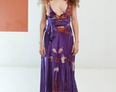 Plunging Purple silk short silk dress boho chic tie dye bridesmaids dresses hand made tie dyed silk dresses beach boho dress