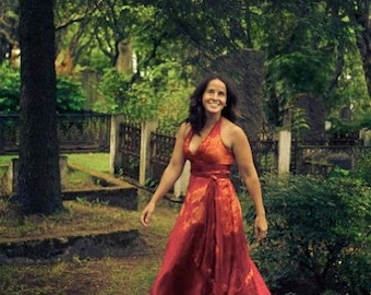 Long red halter wedding dress with sash perfect for your wedding