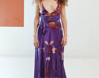 Plunging Purple silk short silk dress boho chic tie dye bridesmaids dresses hand made tie dyed silk dresses beach boho dress