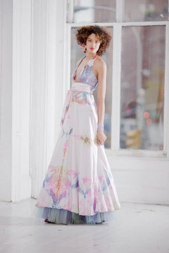 silkhalter wedding dress with opalescent colors boho chic bridal tie dye bridesmaids mother of the bride dresses island wedding dress