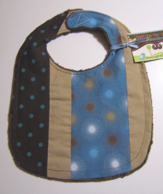 CLEARANCE - Baby Bib - Brown, Tan and Blue on Brown Minky