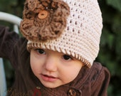 Cream Beanie Hat with button on ruffle flower (fits baby, toddler, child and adult) (Cleo Cloche)