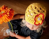 Yellow Beanie Hat with 3 button detachable flowers (fits baby, toddler, child and adult) (Lily Beanie)
