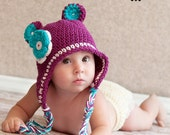 Monkey Hat with double colored flower (newborn to 4T)