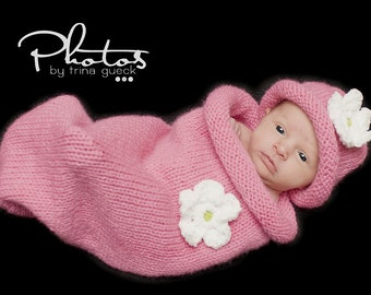 Baby Cocoon for 0-3 months (Bright Pink with white flower or pom pom)