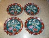 Set of 4 Teal Peacocks Japanese Gold Imari Plates