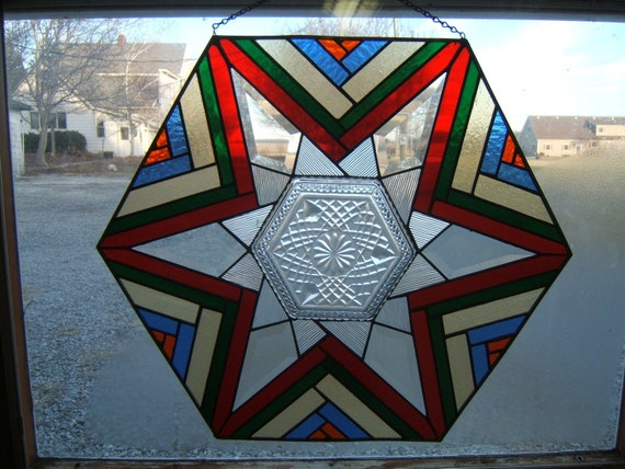 Stained Glass Patchwork Star with Plate