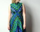 70s Sleeveless Maxi Dress - Bold Blue, Green and Black Pattern - Women Medium