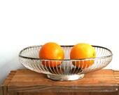 Silverplated Oval Wire Basket - Classic Mid Century Modern Kitchen Organization