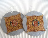 Large Earrings Ornate Red Pattern Vintage Tin Disc