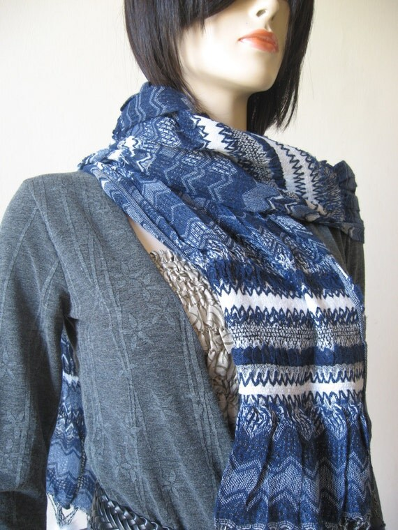 white grey and blue Stylish scarf Now on sale